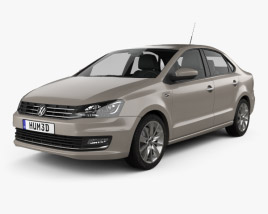 3D model of Volkswagen Polo Highline sedan 2015