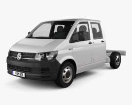 3D model of Volkswagen Transporter (T6) Double Cab Chassis 2016