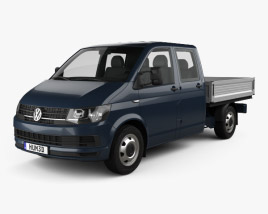 3D model of Volkswagen Transporter (T6) Double Cab Pickup 2016