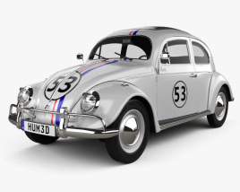 3D model of Volkswagen Beetle Herbie the Love Bug 1963