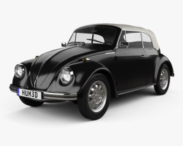 3D model of Volkswagen Beetle convertible 1975