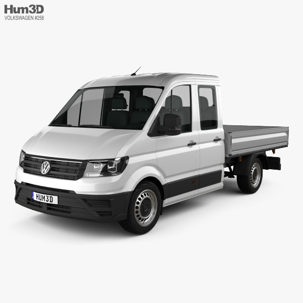 3D model of Volkswagen Crafter Double Cab Dropside 2017