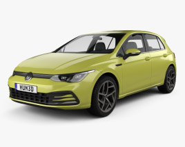3D model of Volkswagen Golf Style 5-door hatchback 2020