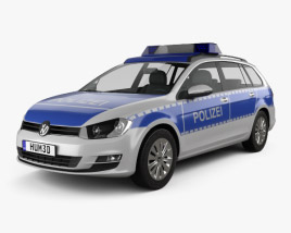 3D model of Volkswagen Golf variant Police Germany 2015