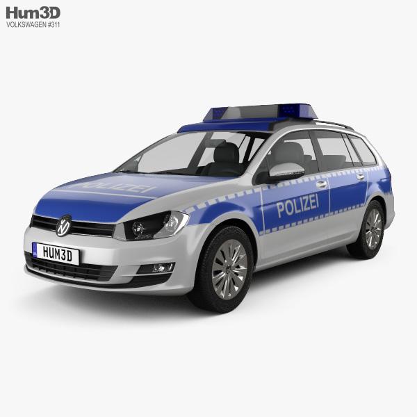 Volkswagen Golf variant Police Germany 2015 3D model