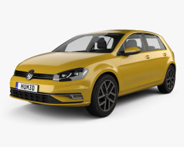 3D model of Volkswagen Golf 5-door hatchback with HQ interior 2017