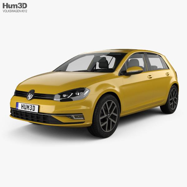 Volkswagen Golf 5-door hatchback with HQ interior 2017 3D model
