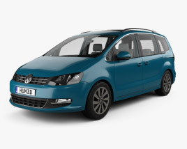3D model of Volkswagen Sharan with HQ interior 2016