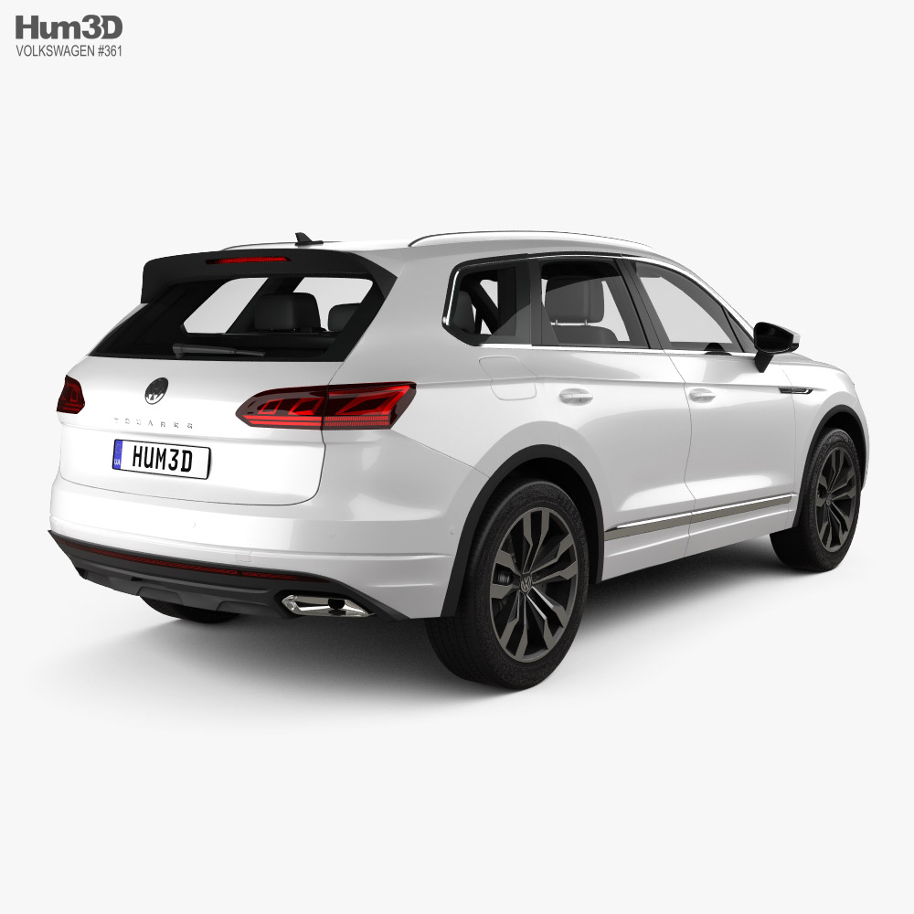 Volkswagen Touareg R-Line with HQ interior and engine 2018 3d model back view