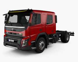 3D model of Volvo FMX Crew Cab Chassis Truck 2014