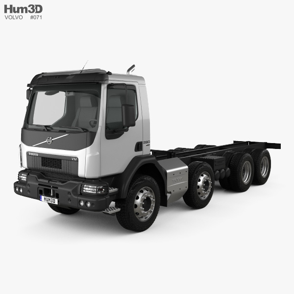 3D model of Volvo VM 270 Chassis Truck 4-axle 2014