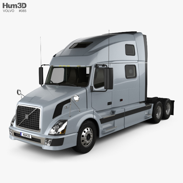 Volvo VNL Tractor Truck with HQ interior 2002 3D model