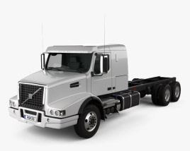 3D model of Volvo VHD Axle Back Sleeper Cab Tractor Truck 2000