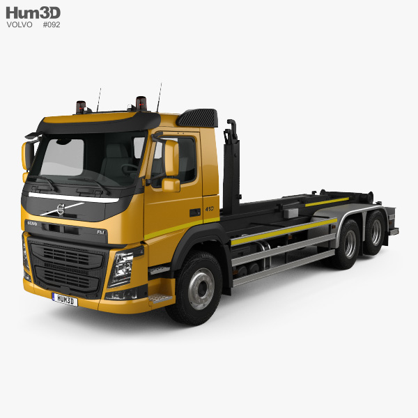 3D model of Volvo FM 410 Skip Loader Truck 2013