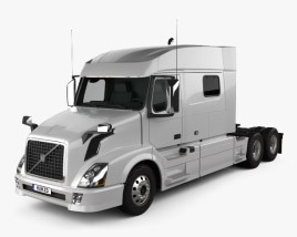 3D model of Volvo VNL Low Roof Sleeper Cab Tractor Truck 2011