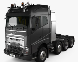 3D model of Volvo FH Globetrotter Cab Tractor Truck 4-axle with HQ interior 2014