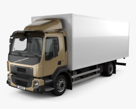 3D model of Volvo FL Box Truck with HQ interior 2013