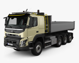 3D model of Volvo FMX Tridem Tipper Truck with HQ interior 2013