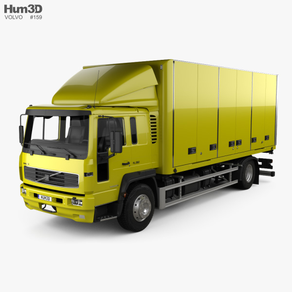 3D model of Volvo FL Day Cab Box Truck 2000