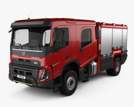3D model of Volvo FMX Crew Cab Fire Truck 2020