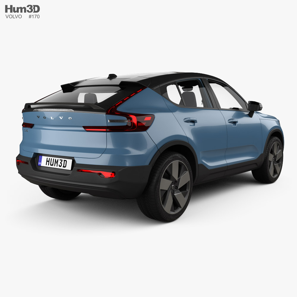 Volvo C40 Recharge with HQ interior 2021 3d model back view
