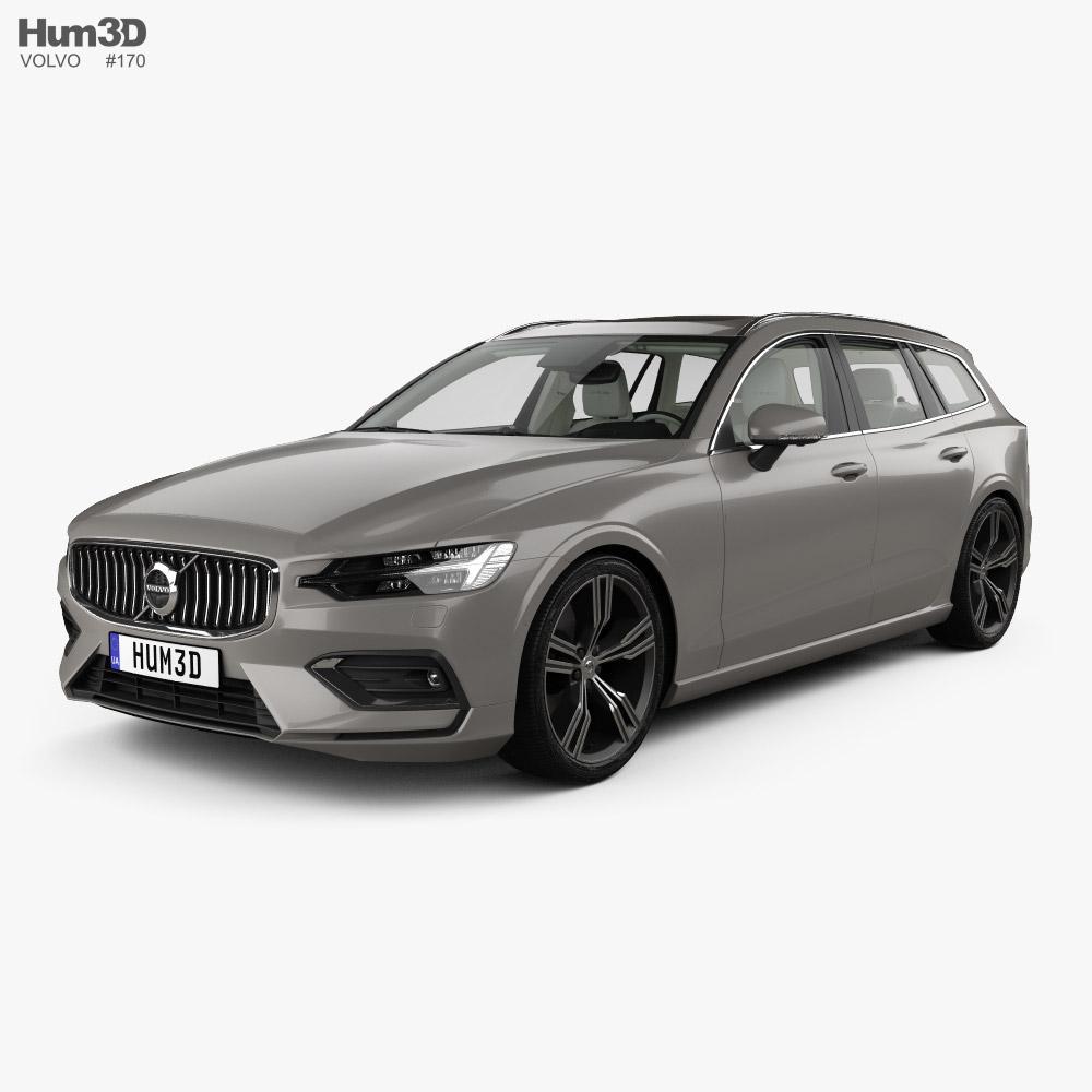 Volvo V60 T6 Inscription 带内饰 2018 3D模型