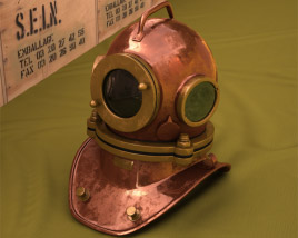 3D model of Three bolt diving helmet