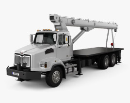 3D model of Western Star 4700 Set Back Crane Truck 2011