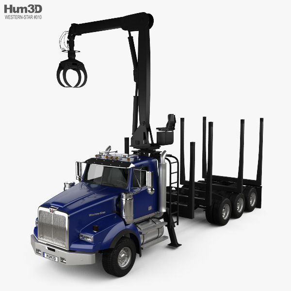 3D model of Western Star 4900 Logging Truck 2008