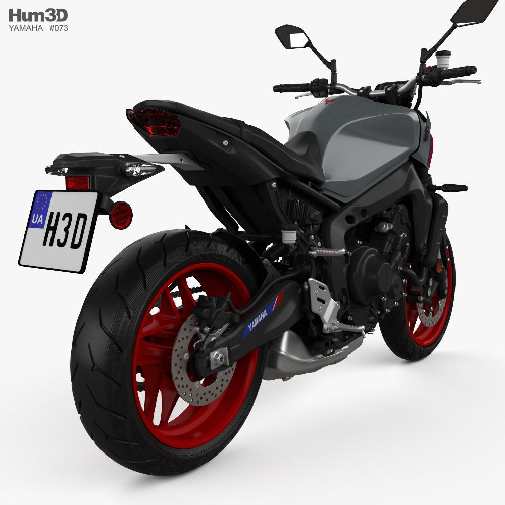 Yamaha MT-09 2021 3d model back view